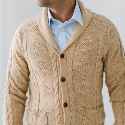Hope & Heny Mens' White Cable Sweater