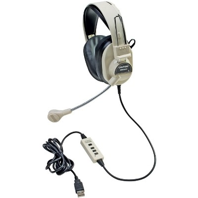 Califone 3066-USB Deluxe Over-Ear Stereo Headset with Gooseneck Microphone, USB Plug, Beige, Each
