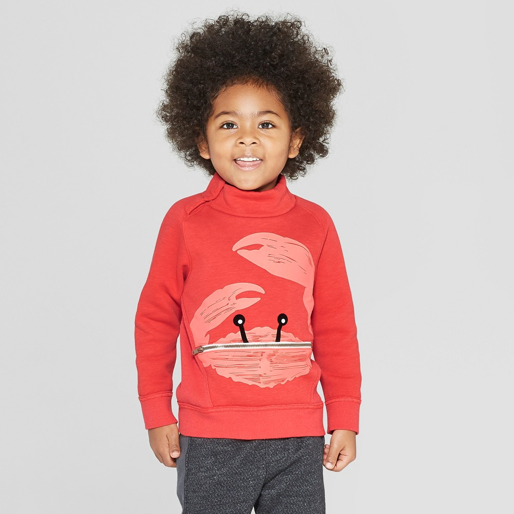 Image of Genuine Kids from OshKosh Toddler Boys' Crabby Mock Neck Pullover With Zip Pocket - Red 12M, Toddler Boy's
