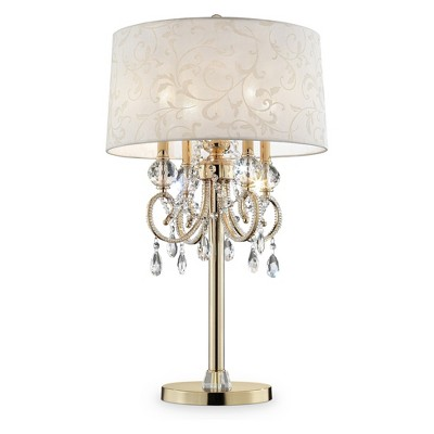 """32.5"""" Antique Metal Floor Lamp with Crystals (Includes CFL Light Bulb) Gold - Ore International"""
