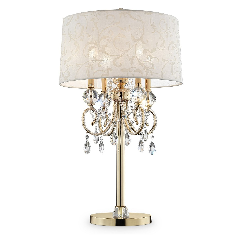 Aurora Barocco Crystal Table Lamp Gold 32.5 (Includes Energy Efficient Light Bulb) - Ore International