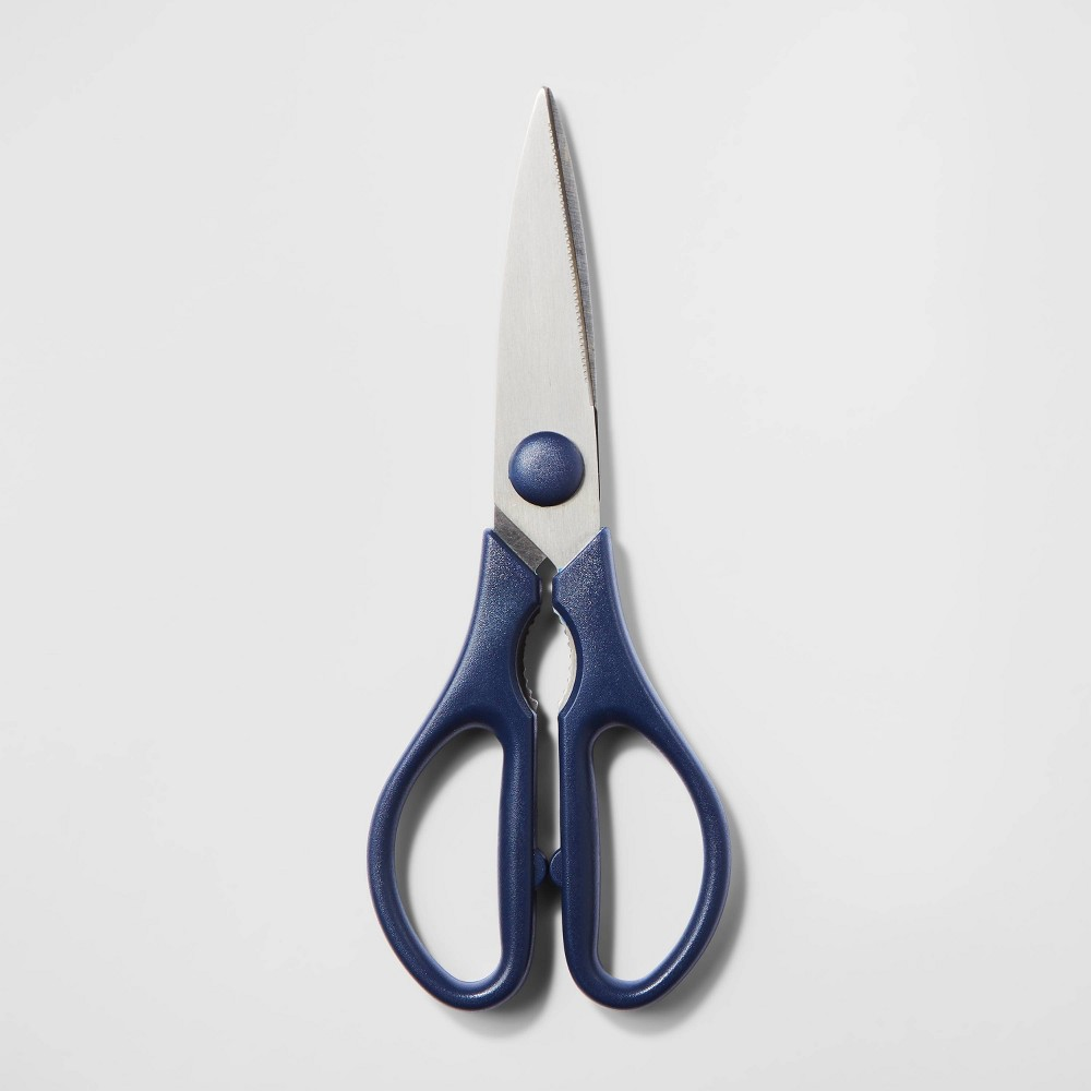 Image of Stainless Steel and Plastic Kitchen Shears Blue - Room Essentials