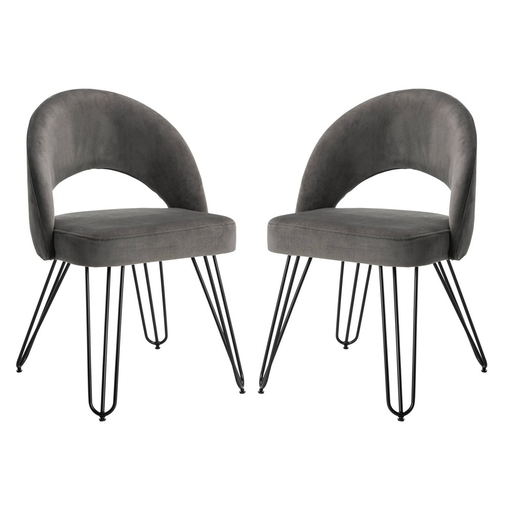 Set of 2 Dining Chairs Dark Gray - Safavieh