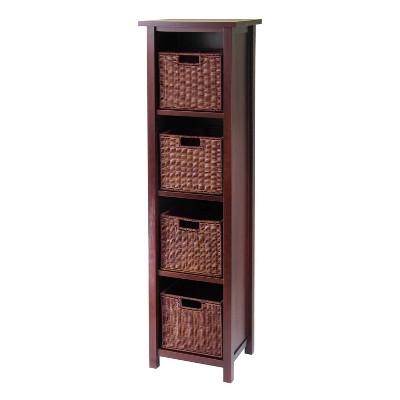 """55.98"""" 5pc Milan Storage Shelf With Baskets Walnut - Winsome"""