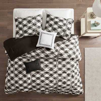 Full/Queen 5pc Caroline Ruched Comforter Set Black/Gray