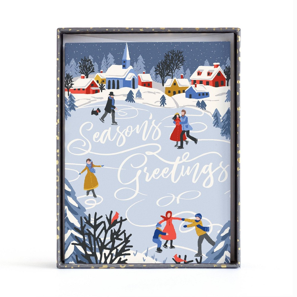 Image of 10ct Minted Ice Skating Greetings Boxed Greeting Cards