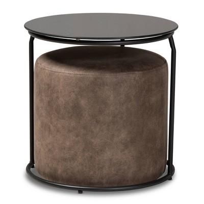 2pc Kira Nesting Table and Ottoman Set Brown/Black - Baxton Studio