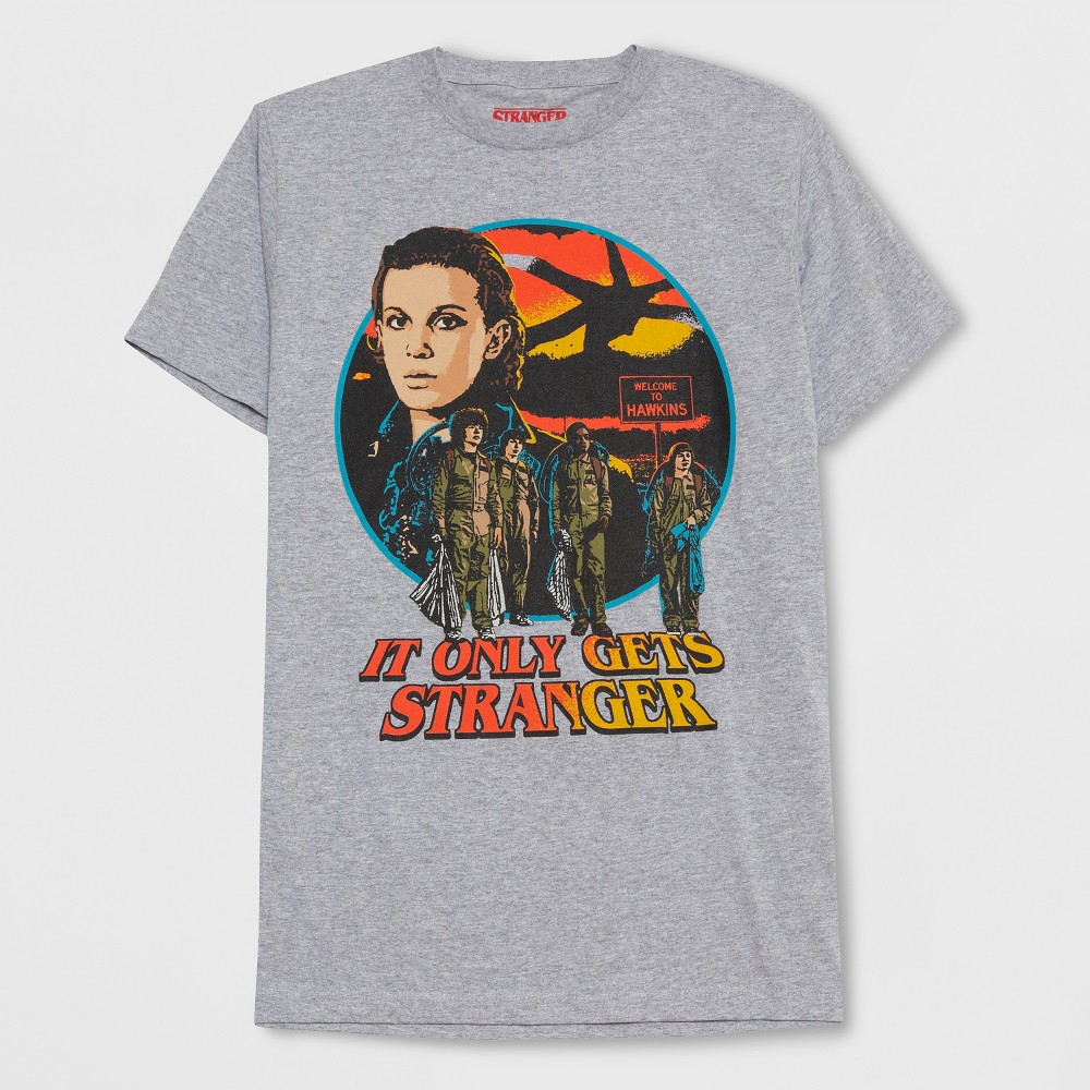Men's Short Sleeve Stranger Things Getting Stranger Crew T-Shirt - Cloudy Gray XL