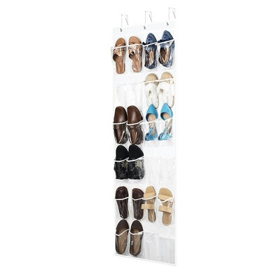 OSTO Over-The-Door Shoe Organizer for 12 Pairs of Shoes; 24 Breathable Mesh Pockets, 3 Metal Hooks, Nonwoven Fabric