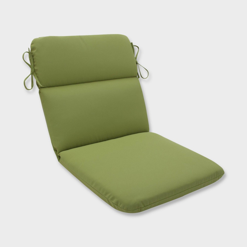 Colefax Pesto Rounded Corners Outdoor Chair Cushion Green - Pillow Perfect