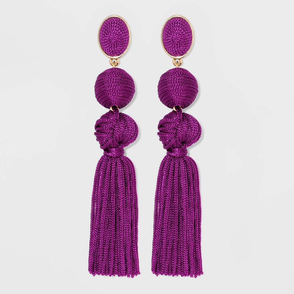 Image of SUGARFIX by BaubleBar Ball Drop Tassel Earrings - Purple, Women's, Size: Small