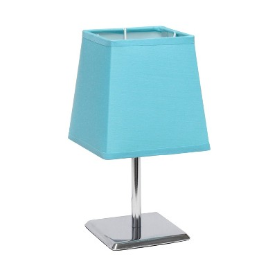 Mini Table Lamp with Squared Empire Fabric Shade Blue - Simple Designs