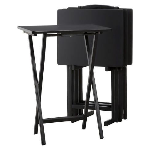 5pc Tv Tray Set Wood Black Plastic Dev Group Target