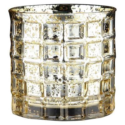 4.5 x5  Gold Glass Vase - Diamond Star