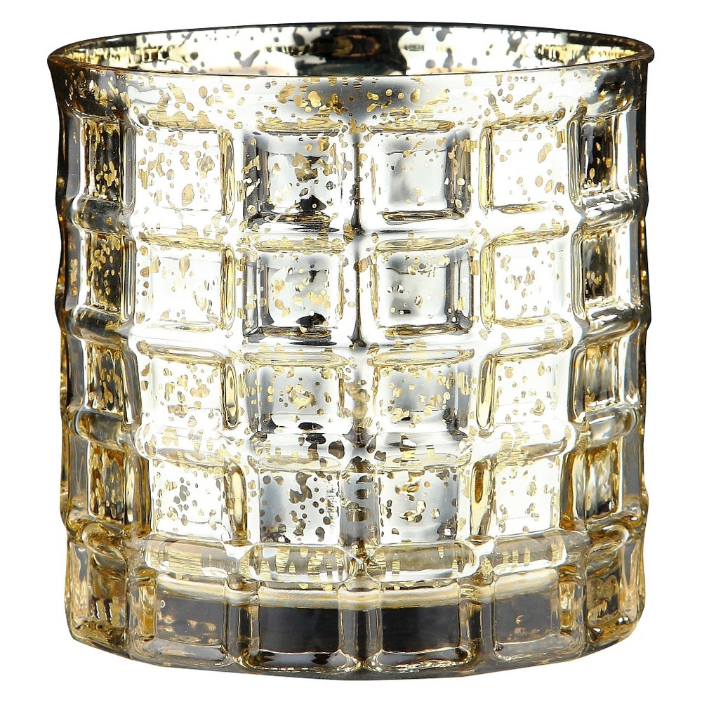 "Image of ""4.5""""x5"""" Gold Glass Vase - Diamond Star"""