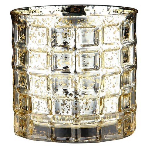 "4.5""x5"" Gold Glass Vase - Diamond Star - image 1 of 2"