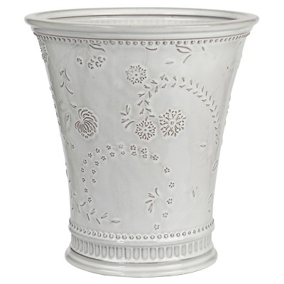 Ceramic Wastebasket Eyelet White - Creative Bath®