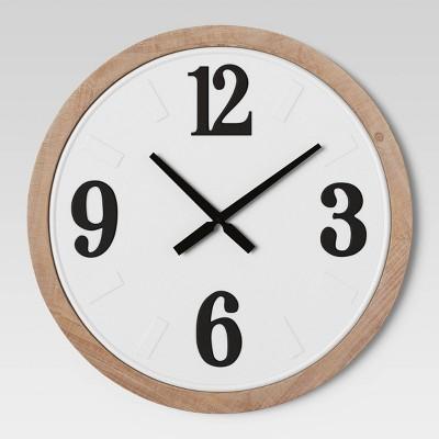 "26"" Wood Bordered Wall Clock White - Threshold™"