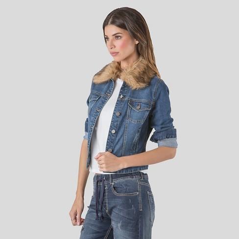 Women S Denim Jacket With Detachable Faux Fur Collar S P By