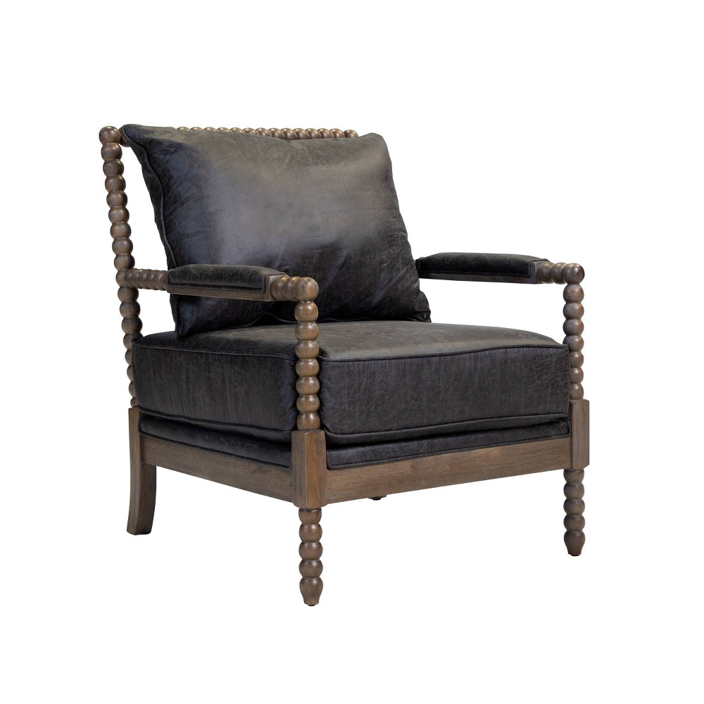 Eves Accent Chair Fabric and Wood Dark Gray - Sun & Pine