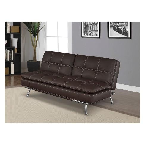 Phenomenal Morgan Bonded Leather Double Cushion Convertible Sofa In Dark Brown With Tan Stitching Serta Download Free Architecture Designs Scobabritishbridgeorg