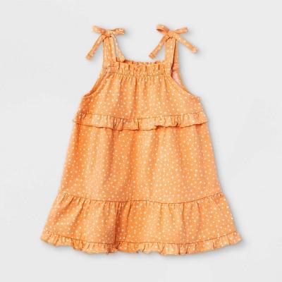Grayson Mini Baby Girls' Tie Shoulder Dot Dress - Orange Newborn