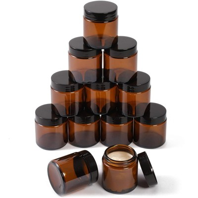 Juvale 12 Pack Round Amber Glass Jars with Lids for Cosmetics (4 oz)