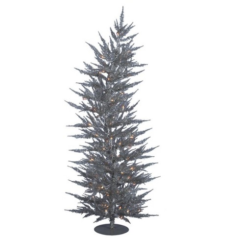 4ft pre lit artificial christmas tree slim silver laser with 70 warm white led lights - Slim Christmas Tree With Led Lights