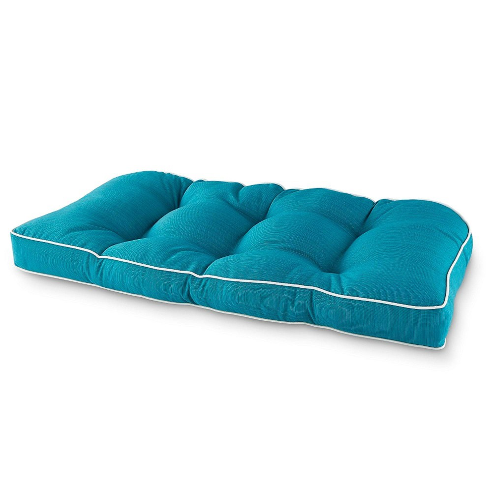 Image of Elite Settee Outdoor Seat Cushion Teal - Terrasol