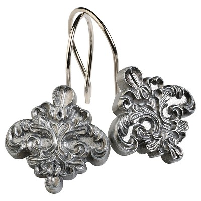 Alexa Resin Brushed Silver Traditional Shower Curtain Hooks Spa Blue/Silver - India Ink