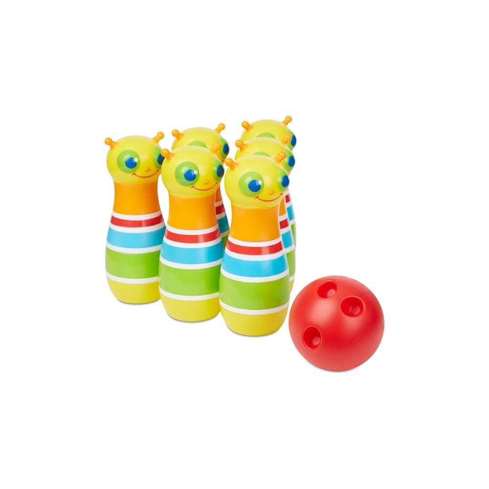 Melissa & Doug Sunny Patch Giddy Buggy Bowling Set with 6 Bug Pins, Bowling Ball and Storage Bag, Multi-Colored