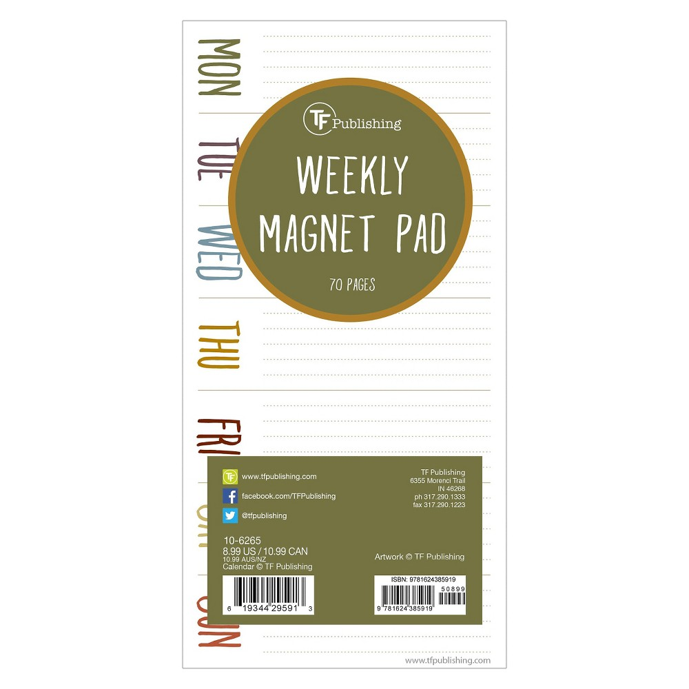 TF Publishing Earth Days Magnetic List Pad, 70 Pgs, (8  x 4 ), Multi-Colored Add an earthy touch to your home décor with the TF Publishing Poppies Magnetic List Pad. Keep track of all your  things to do  with this unlined pad! Jot down your weekly schedule or daily to-dos, then tear it off and start anew. The magnetic pad is perfect for filing cabinets, refrigerators or any other magnetic surface. The pad has 70 tear-off sheets for you to track all your appointments and to dos. Color: Multi-Colored.