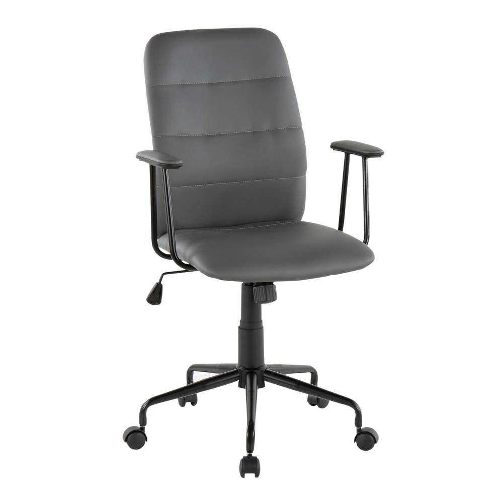 Fredrick Contemporary Office Chair Faux Leather Gray - LumiSource