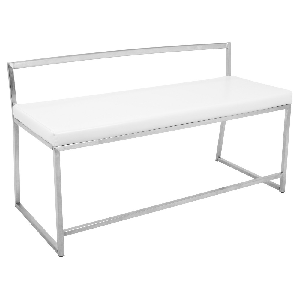 Fuji Contemporary Dining / Entryway Bench - White - Lumisource