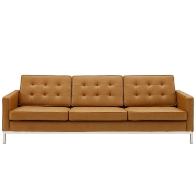 Loft Tufted Upholstered Faux Leather Sofa Silver/Tan - Modway