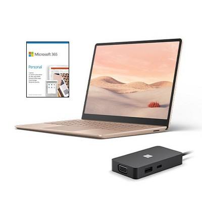"Microsoft Surface Laptop Go 12.4"" Touchscreen Intel Core i5 8GB RAM 128GB SSD Sandstone + Microsoft USB-C Travel Hub + Microsoft 365 Personal 1 Yr"