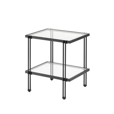 Folio Metal and Glass End Table Black - Lifestorey