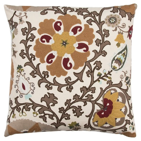 "Floral Medallion Throw Pillow (20""x20"") - Rizzy Home® - image 1 of 1"