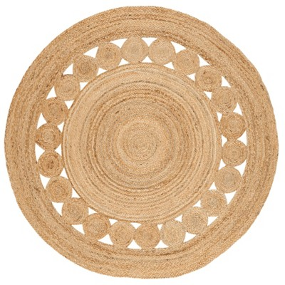 4' Solid Woven Round Area Rug Natural - Safavieh