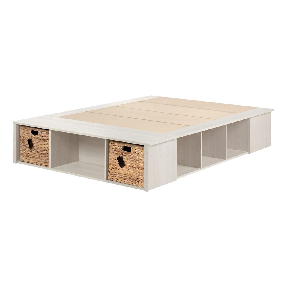 Full Avilla Storage Bed with Baskets Winter Oak/Rattan - South Shore, Beige