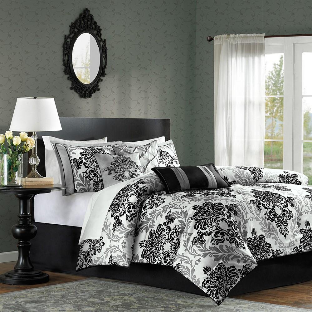 Image of 7 Piece Charlize Printed Comforter Set (Cal King) - Black