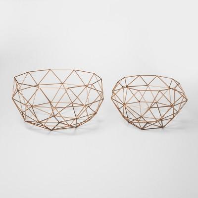 Modern Reflections Iron Geodesic Round Basket Set 2ct - Olivia & May