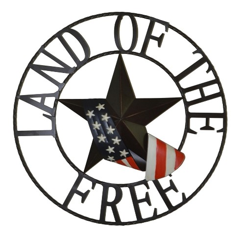 29 H Land Of The Free Metal Outdoor Welcome Wheel Wall Sign Panels Black Backyard Expressions Target