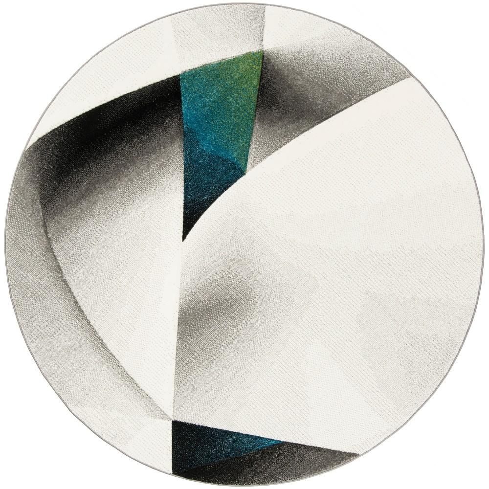 6'7 Geometric Loomed Round Area Rug Gray/Teal (Gray/Blue) - Safavieh