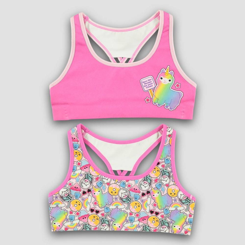 Girls' Mush 'Llamas' 2pk Seamless Sports Bra - L, Multicolored