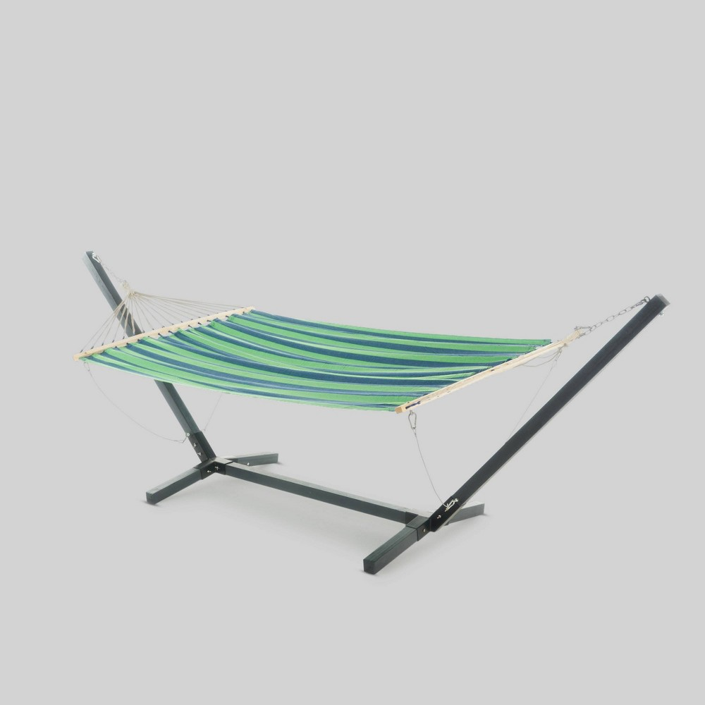 Aspen Hammock with Larch Wood Frame - Blue/Green Striped - Christopher Knight Home, Blue/Green Stripe