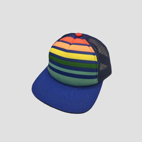 Toddler Boys' Stripped Baseball Hats - Cat & Jack™ Blue 2T-5T - image 1 of 2