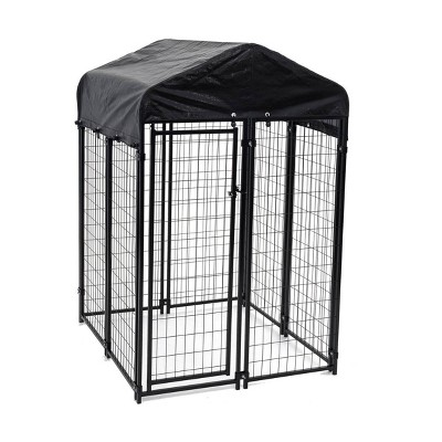 Lucky Dog 60544 Uptown Spacious 4' x 4' x 6' Heavy Duty Welded Wire Outdoor Dog Kennel with Water Resistant Cover, Black