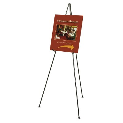 """Quartet Heavy-Duty Adjustable Instant Easel Stand 25"""" to 63"""" High Steel Black 27E"""