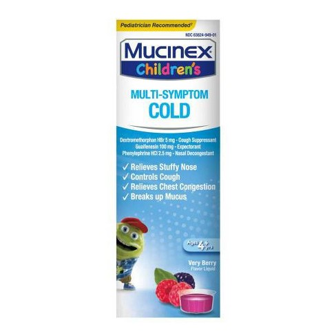Children's Mucinex Multi-Symptom Cold Relief Liquid - Dextromethorphan - Very Berry - 4 fl oz - image 1 of 3